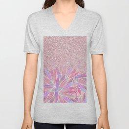 Girly pink artsy floral pink glitter Unisex V-Neck