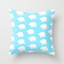 Cute happy polar bears Throw Pillow