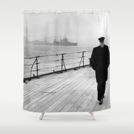Winston Churchill At Sea Shower Curtain