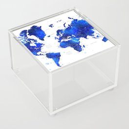 """Navy blue and cobalt blue watercolor world map with cities labelled, """"Carlynn"""" Acrylic Box"""