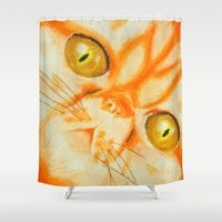 persian Shower Curtains featuring Persian Kitty by Distorted North