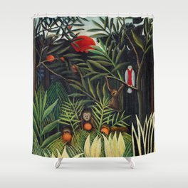 Henri Rousseau - Monkeys and Parrot in the Virgin Forest Shower Curtain