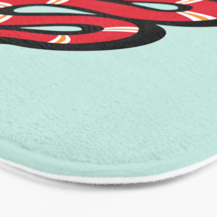 Red & Teal Colored Snake and Foliage Design Bath Mat