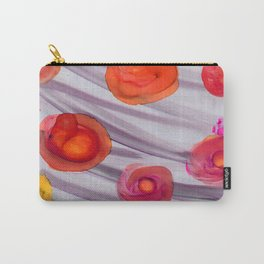 alchol ink red orange flowers Carry-All Pouch