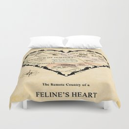 Feline Heart Map Duvet Cover