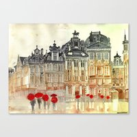 brussels Canvas Prints featuring market in Brussels  by takmaj