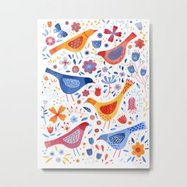 Birds in a Garden Metal Print