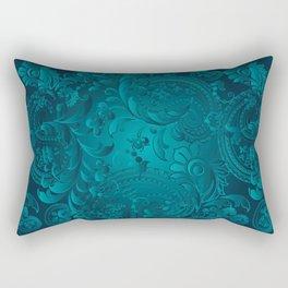 Metallic Teal Floral Pattern Rectangular Pillow