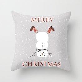 Snowman Yoga - Handstand Throw Pillow