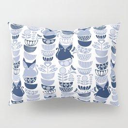 Swedish folk cats III // white background pale and navy blue kitties & bowls Pillow Sham