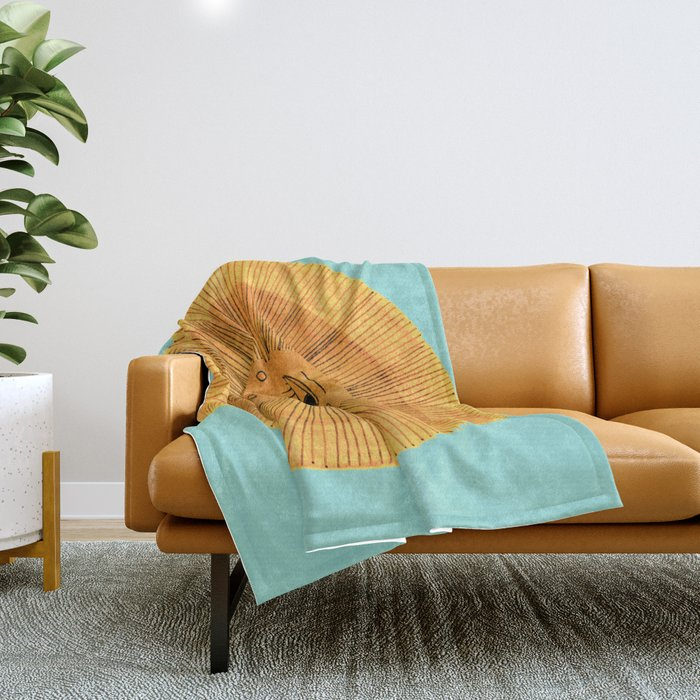 Sun Drawing Gold and Blue Throw Blanket