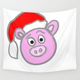 Christmassy Pig Wall Tapestry