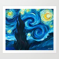 starry night Art Prints featuring Starry Starry Night by Jade Cohen