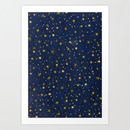 Golden Stars on Blue Background Art Print