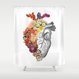 Flower Heart Spring White Shower Curtain