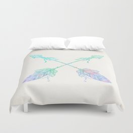Arrows Blue Green Pink Vintage Cream Duvet Cover