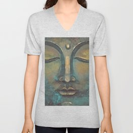 Rusty Golden Copper Buddha Face Watercolor Painting Unisex V-Neck