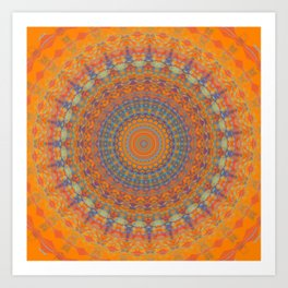 Bright Orange Blue Mandala Art Print