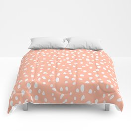 Handdrawn Polka Dot Pattern - White on Peach Comforters