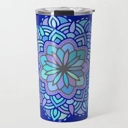 Heart mandala Pattern on Dark Blue Background Travel Mug