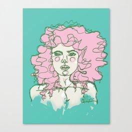 Pink Mermaid Curls Canvas Print
