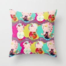 Dolls purple Throw Pillow