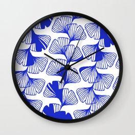 ginkgo cobalt blue Wall Clock