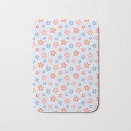 Blue Pink Flower Pattern Bath Mat