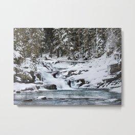 Winter Waterfall - Glacier National Park Metal Print