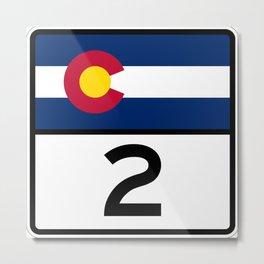 Colorado State Highway 2 Shield  Metal Print