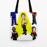 picard Tote Bags featuring Want To Boldy Go...?  Just choose your captain! Star Trek's Sisko, Janeway, Archer, Kirk and Picard by beetoons