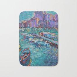 Fishing Boats of Giovinazzo - original modern palette knife sea landscape by Adriana Dziuba Bath Mat
