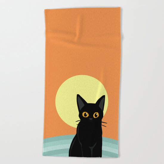 Sunset and cat Beach Towel