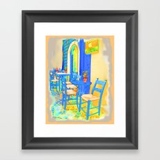 Greek Coffee Place Gold and Blue Framed Art Print