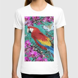 TROPICAL ORCHIDS RED MACAW PARROT JUNGLE ART T-shirt