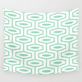 Geometric Ogee Pattern 151 Mint Green Wall Tapestry