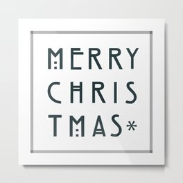 Merry Christmas lettering, Art Noveau style. Metal Print
