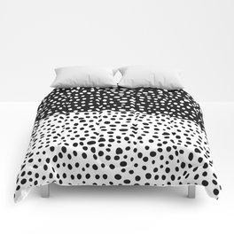 Modern Black and White Hand Drawn Polka Dots Comforters