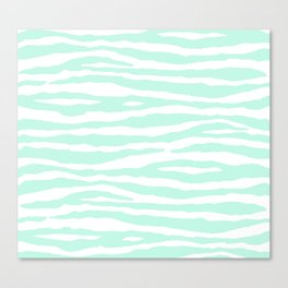 Mint Green & White Animal Print Canvas Print