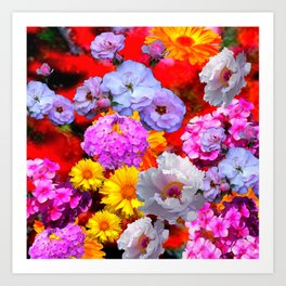 PINK-YELLOW-WHITE FLOWERS ON RED Art Print