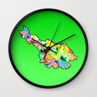 water colour Wall Clocks featuring Cavan Water Colour by Kramcox