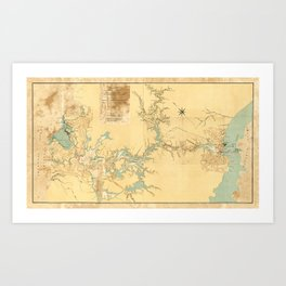 Map of the Proposed Panama Canal (1906) Art Print