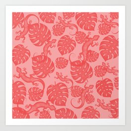 Tropical exotic monstera philodendron leaves and lizards distressed lovely powder coral red design. Gift ideas for nature, animal and plant lovers. Botanical pattern. Art Print