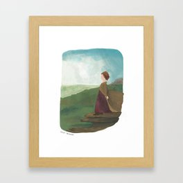 On Top of the World | Elizabeth Bennet character illustration Framed Art Print