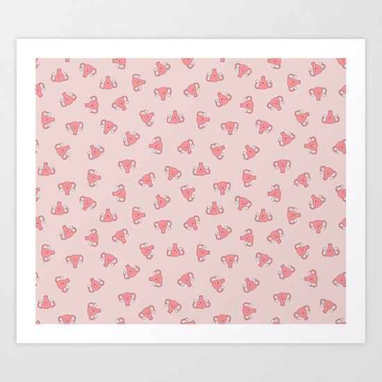 Crazy Happy Uterus in Pink, small repeat by joanandrose