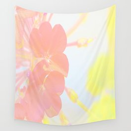 Pink and yellow floral Wall Tapestry