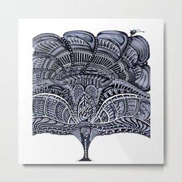 Biomechanics Blue Flower Metal Print