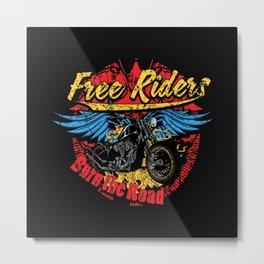 Free Riders Motorcycle Burn The Road Metal Print