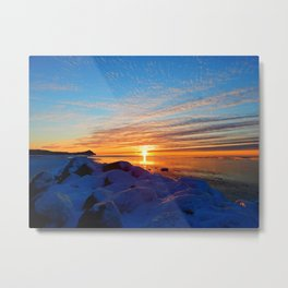 Sun sets on frozen land Metal Print