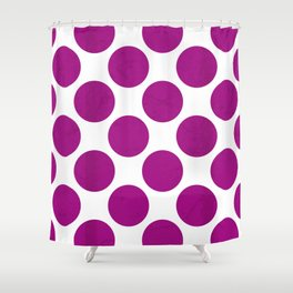 Fuchsia Polka Dot Shower Curtain